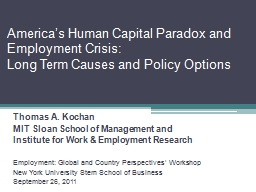 America's Human Capital Paradox and Employment Crisis: