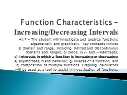 Function Characteristics – PowerPoint PPT Presentation