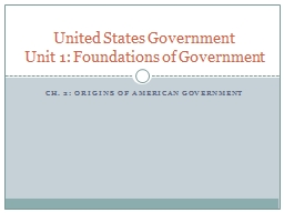 Ch. 2: Origins of American Government