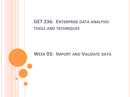 GET 236:  Enterprise data analysis:  tools and techniques