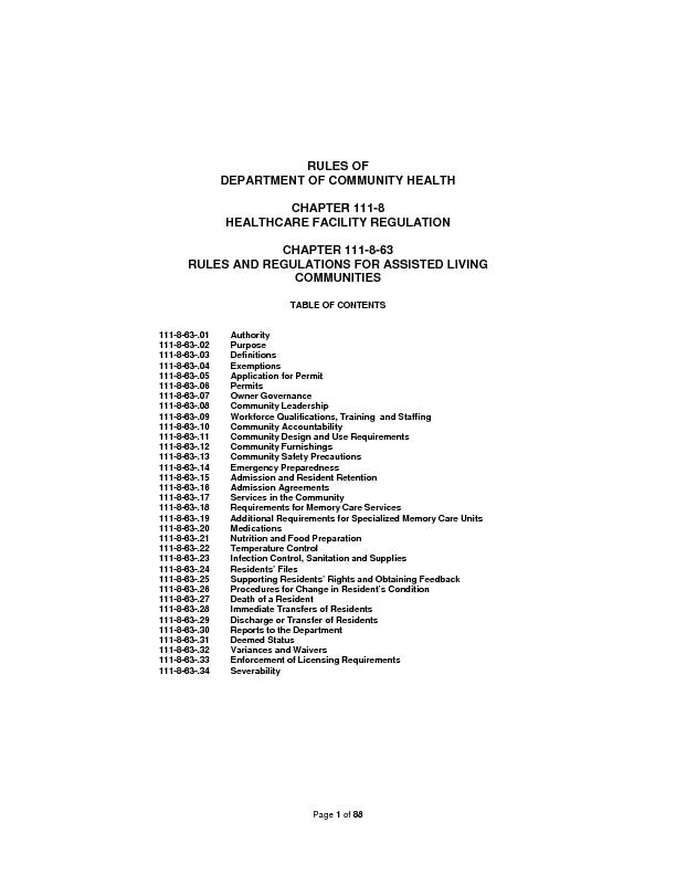 Page  of 88RULES OF DEPARTMENT OF COMMUNITY HEALTH CHAPTER 111-8 HEALT
