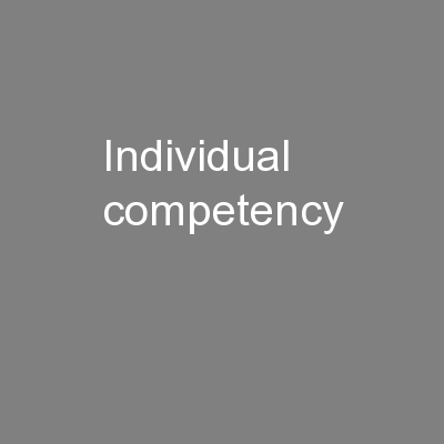 Individual competency