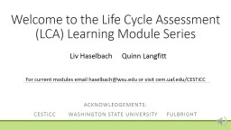 Welcome to the Life Cycle Assessment (LCA) Learning Module