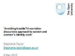'Avoiding trouble? A narrative-discursive approach to sex