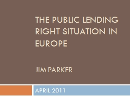 THE public lending right SITUATION IN EUROPE