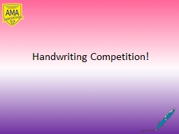 Handwriting Competition!
