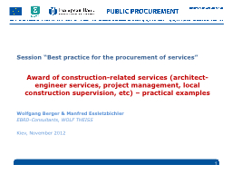 """Session """"Best practice for the procurement of services"""""""