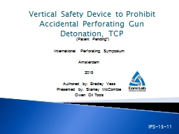 Vertical Safety Device to Prohibit Accidental Perforating G