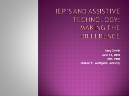 IEP's And Assistive Technology: PowerPoint PPT Presentation
