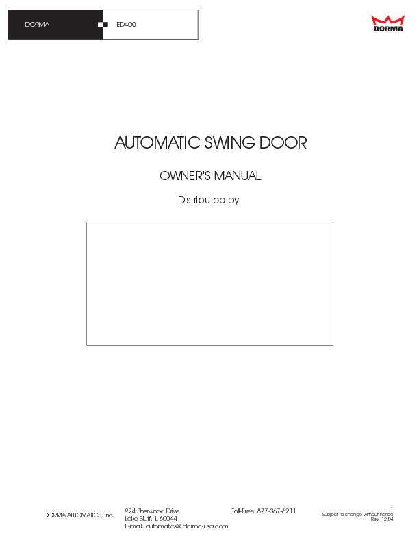 Electric swing door installation instructionsInstructions to Installer
