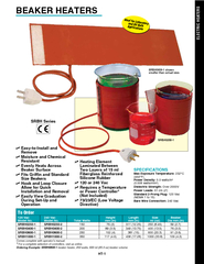 HT SRBH Series BEAKER HEATERS Heating Element Laminated Between Two Layers of  ml Fiberglass Reinforced Silicone Rubber  or  Vac Requires a Temperature or Power Controller Not Included EC Low Voltage