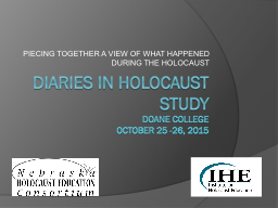 DIARIES IN HOLOCAUST STUDY PowerPoint PPT Presentation