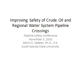 Improving Safety of Crude Oil and Regional Water System Pip