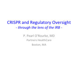 CRISPR and Regulatory Oversight