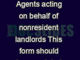 Income Tax Registration Form for Collection Agents acting on behalf of nonresident landlords This form should be completed by the Collection Agent