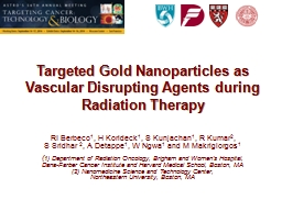 Targeted Gold Nanoparticles as Vascular Disrupting Agents d
