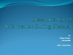 Dissemination of Information During Disaster