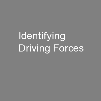 Identifying Driving Forces