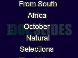Natural Selections The African Wanderings of a Bemused Naturalist By Recent Books From South Africa  October  Natural Selections  The African Wanderings of a Bemused Naturalist  Don Pinnock Cape Town