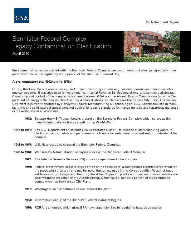 Bannister Federal Complex Legacy Contamination Clarification April 201