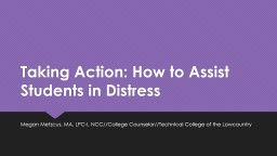 Taking Action: How to Assist Students in Distress