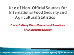 Use of Non-Official Sources for International Food Security