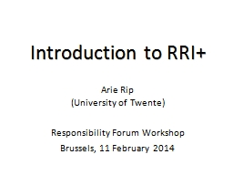 Introduction to RRI+ PowerPoint PPT Presentation
