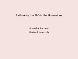 Rethinking the PhD in the Humanities