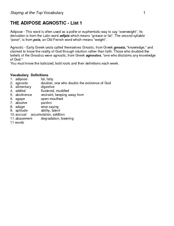 Staying at the Top Vocabulary   1 THE ADIPOSE AGNOSTIC - List 1 Adipos