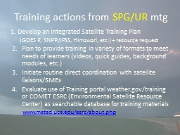 Training actions from