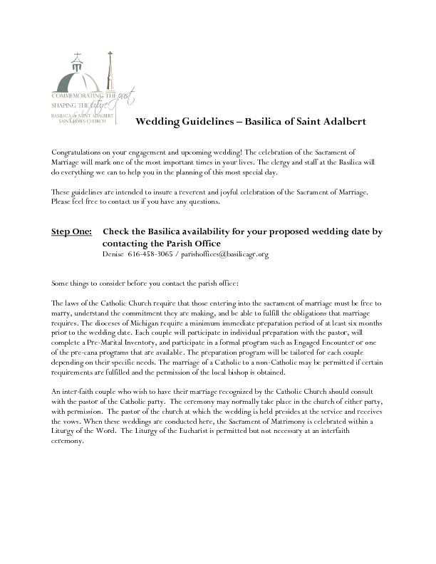 Wedding Guidelines