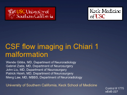 CSF flow imaging in