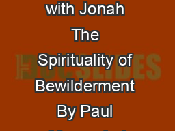 A Journey with Jonah The Spirituality of Bewilderment By Paul Murray bol
