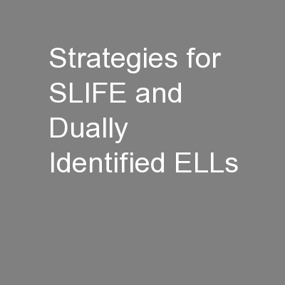 Strategies for SLIFE and Dually Identified ELLs