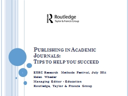 Publishing in Academic Journals: