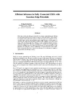 Efcient Inference in Fully Connected CRFs with Gaussian Edge Potentials Philipp Kr ahenb uhl Computer Science Department Stanford University philkrcs