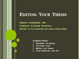 Editing Your Thesis PowerPoint PPT Presentation