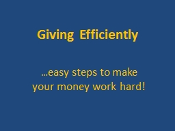 Giving Efficiently