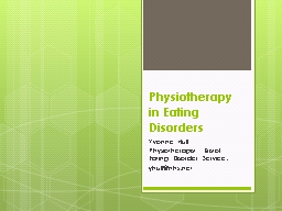 Physiotherapy in Eating Disorders