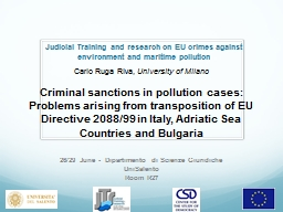Judicial Training and research on EU crimes against environ