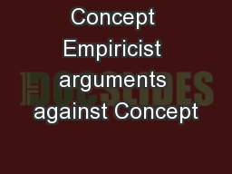 Concept Empiricist arguments against Concept