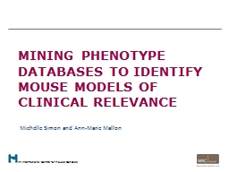 Mining phenotype databases to identify mouse models of clin