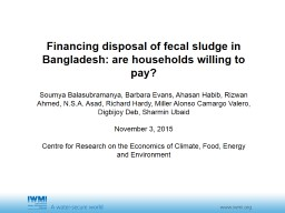 Financing management of fecal sludge from onsite