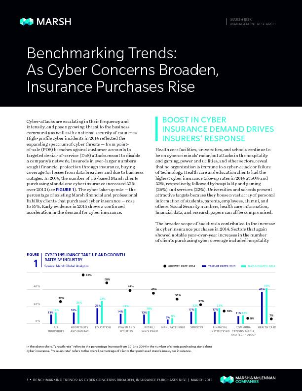 •  BENCHMARKING TRENDS: AS CYBER CONCERNS BROADEN, INSURANCE PURC