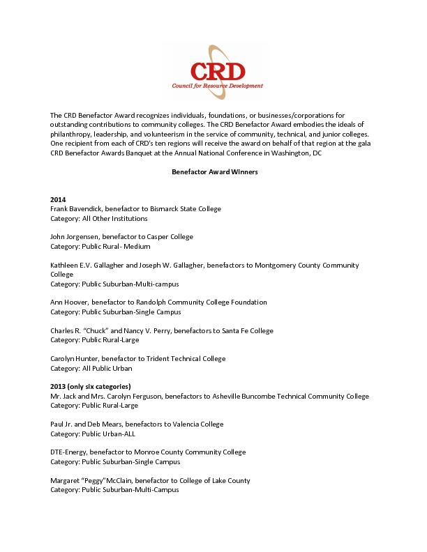 The CRD Benefactor Award recognizes individuals, foundations, or busin