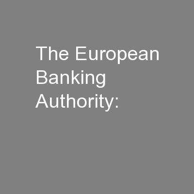The European Banking Authority:
