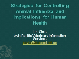 Strategies for Controlling Animal Influenza and Implication
