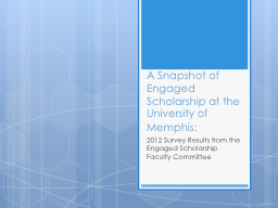 A Snapshot of Engaged Scholarship at the University of Memp