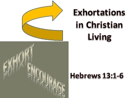 Exhortations in Christian Living PowerPoint PPT Presentation