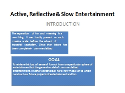 Active, Reflective& Slow PowerPoint PPT Presentation